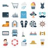 Resa och turnera isolerade symboler för färg vektorn består med drevet, spårvagnen, blusen, kortet, totot, kvinnlign, flipflotp,  vektor illustrationer