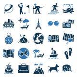 Resa och turnera vektorsymboler som mycket är moderiktiga och som är användbara för att resa projekt royaltyfri illustrationer