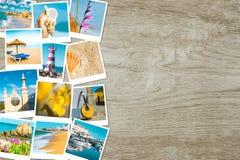 Resa polaroids från Portugal på trä, textutrymme Royaltyfria Foton