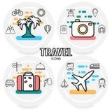Resa resväskan med seascapeinsida vektor illustrationer