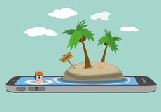 Resa resväskan med seascapeinsida Arkivfoton