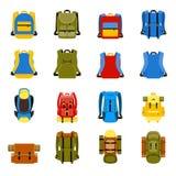 Resa ryggsäcken, den campa ryggsäcken och skolapåsen Arkivfoto