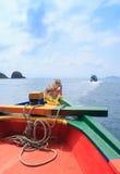 Resa skeppet på havet och ön, sikt från passagerareskeppet royaltyfria foton