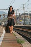 resa som låter vara kvinnan Fotografering för Bildbyråer