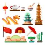 Resa till Asien, Kina symboler och den isolerade designbeståndsdeluppsättningen Kultursymboler, gränsmärken och mat för vektor ki stock illustrationer
