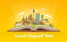 Resa till Australien Öppna boken med gränsmärken Royaltyfri Bild