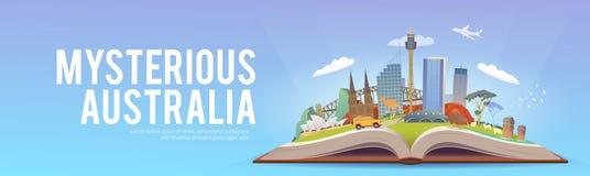 Resa till Australien Öppna boken med gränsmärken Arkivfoton