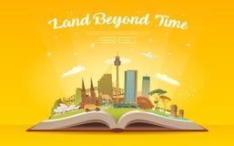 Resa till Australien Öppna boken med gränsmärken Arkivbilder