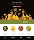 Resa till banret för Egypten websitetitelrad med webdesignbeståndsdelar