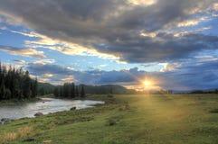 Resa till och med den lösa naturen av Altaien arkivbild