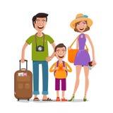 Resa tur, semester Lycklig familjresor den främmande tecknad filmkatten flyr illustrationtakvektorn royaltyfri illustrationer
