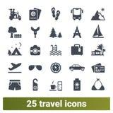Resa vägtur, samling för symboler för sommarferier vektor illustrationer