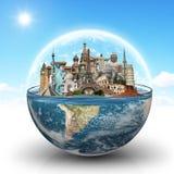 Resa världsmonumentbegreppet stock illustrationer