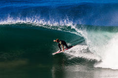 Resaca Rider Riding Hollow Wave Imágenes de archivo libres de regalías