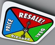 Resale Game Spinner Sell Used Preowned Products Reach Deal Barga. Resale word on a board game spinner to reach a deal, buy, sell or bargain on old or preowned Stock Image