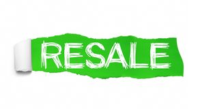 RESALE text, Inspiration, Motivation and Business concept on Green torn paper stock illustration