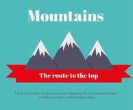 Resan till bergen Landskap av bergen också vektor för coreldrawillustration Ett rött baner Arkivbilder