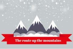 Resan till bergen Landskap av bergen också vektor för coreldrawillustration Ett rött baner Royaltyfri Fotografi