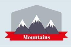 Resan till bergen Landskap av bergen också vektor för coreldrawillustration Ett rött baner Arkivbild