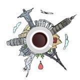 Resande begrepp för kopp kaffe Royaltyfria Bilder