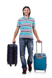 Resande för ung man med isolerade resväskor Arkivfoton