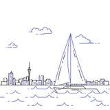 Resande horisontalbaner med segelbåten på vågor på cuty horisontbakgrund stock illustrationer