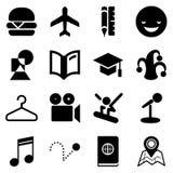 Resande symboler för rengöringsduken och mobilen App Royaltyfri Foto