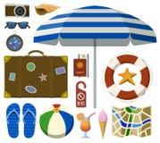 Resande uppsättning med turist- och strandtillbehör Stock Illustrationer