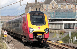 Resandedmudrev på den huvudsakliga linjen järnväg för västkusten Fotografering för Bildbyråer
