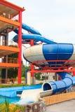 Resbaladores de Aquapark Fotografía de archivo
