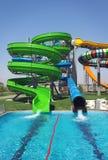 Resbaladores de Aquapark, parque del aqua, parque del agua Fotografía de archivo
