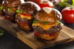 Resbaladores hechos en casa del cheeseburger con lechuga Fotografía de archivo libre de regalías