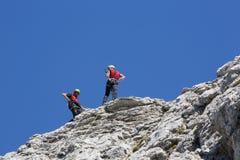 Rescate en la montaña de dolomías, Italia Imagen de archivo