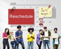 Reschedule Kalendarzowego planu organizatora Planistycznego pojęcie zdjęcia stock