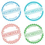Rescheduled badge isolated on white background. Flat style round label with text. Circular emblem vector illustration Royalty Free Stock Photo