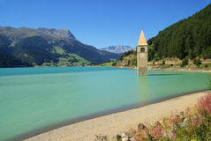Reschensee with church royalty free stock images