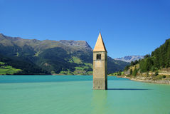 Reschensee with church royalty free stock photos