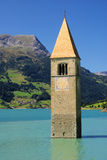 Reschensee with church Stock Image