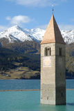 Reschensee church. Drwoned church in the Reschensee Royalty Free Stock Photography