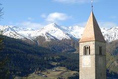 Reschensee church. Drwoned church in the Reschensee Stock Photography