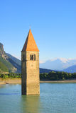 Reschensee with church Stock Images