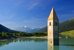 Reschensee with church Royalty Free Stock Photo