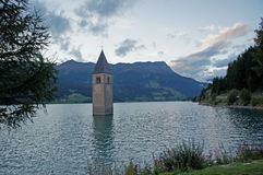The Reschensee in the evening Stock Image