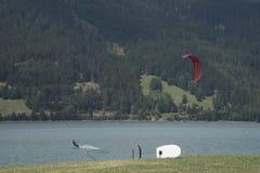 Reschensee - l'Italie - Suedtirol - 2015 10 août, sch de kitesurf Photographie stock libre de droits