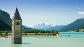 Lake Resia, Italy. Tower in Lake Reschen / Resia in Southern Tyrol, Italy Royalty Free Stock Images