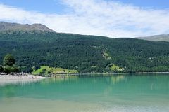 Reschensee Lago di Resia in north italy stock photos