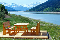 Reschensee summer landscape (Austria). Royalty Free Stock Images