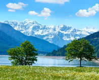 Reschensee summer landscape Italy. Royalty Free Stock Photo