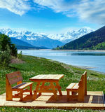 Reschensee summer landscape Italy. Stock Photo