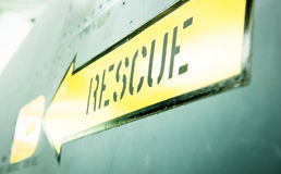 Rescue. Sign at an old plane - close-up stock images